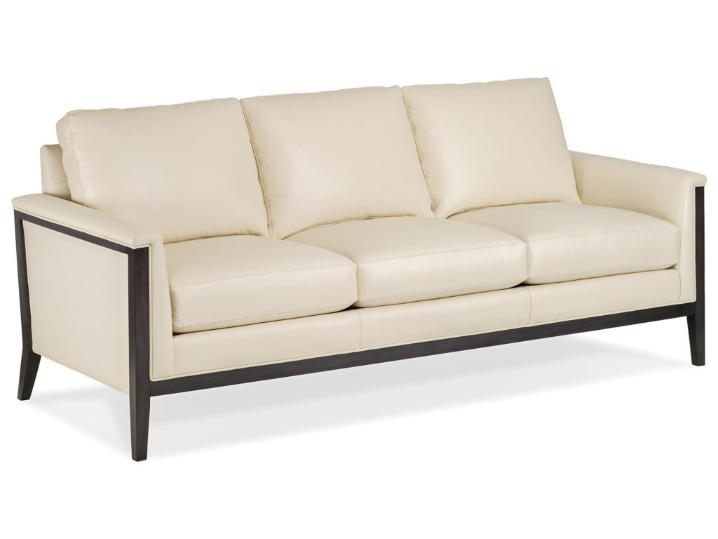 Hancock moore ava contemporary sofa with exposed wood frame