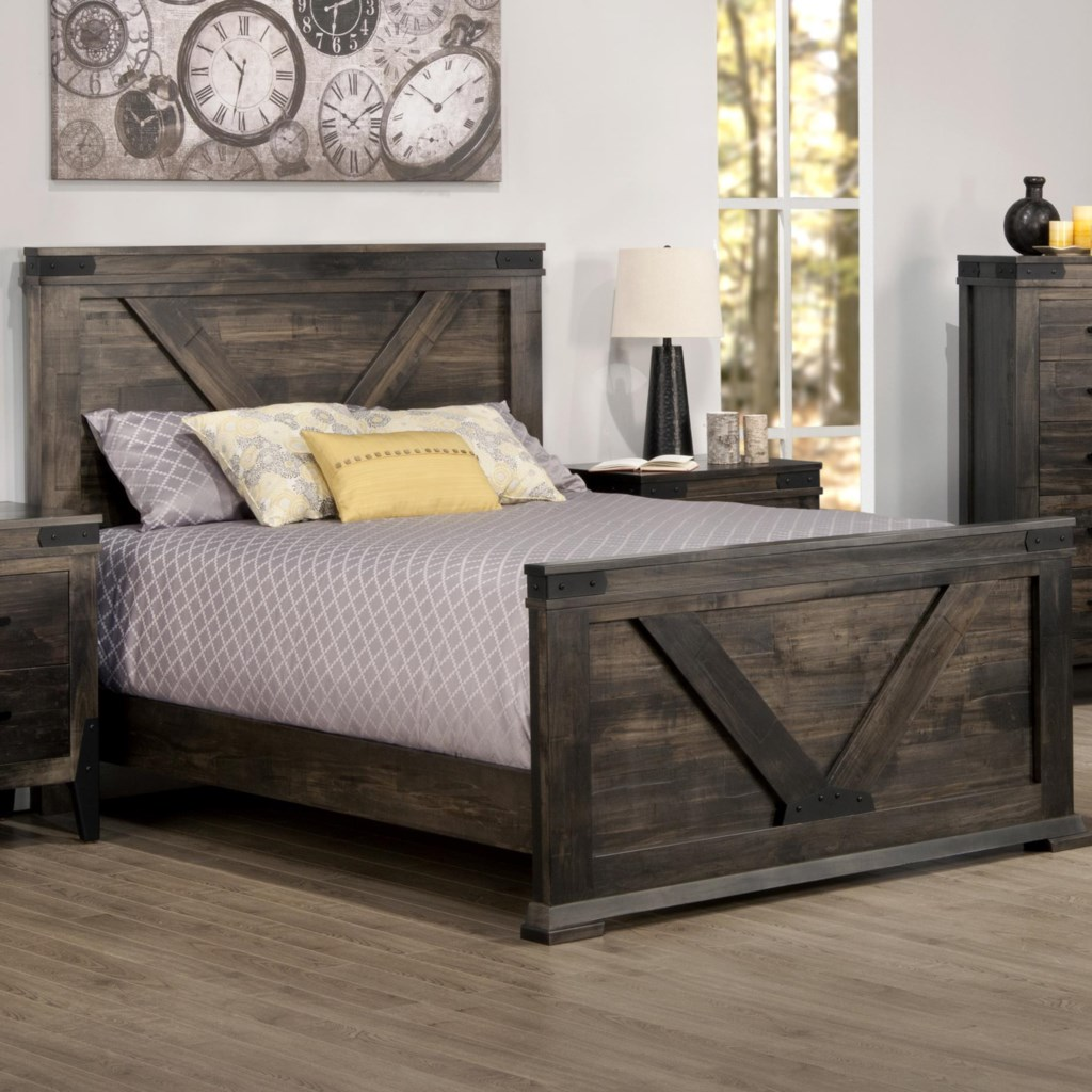 Handstone Chattanooga King Bed With Tall Footboard And Metal Accents