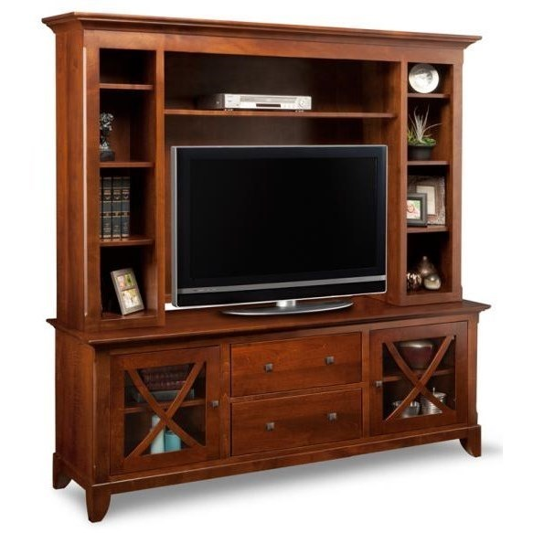 """75"""" HDTV Cabinet with Hutch and Eight Shelves"""