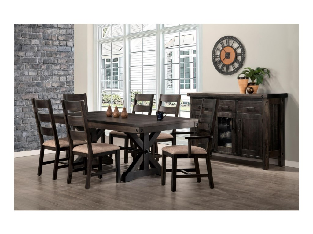 Handstone Rafters42x60 Solid Top Trestle Table