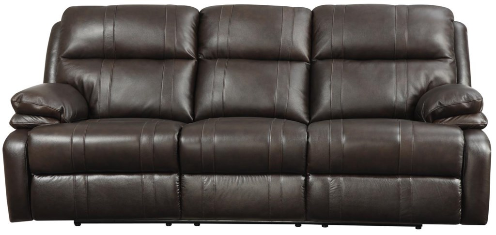 happy leather company 1286 power reclining sofa with soft, pillow