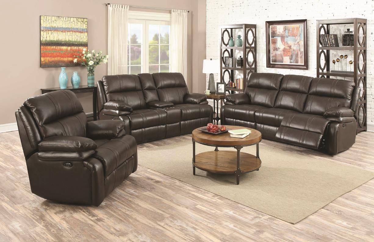 happy leather company power reclining sofa with soft pillow arms