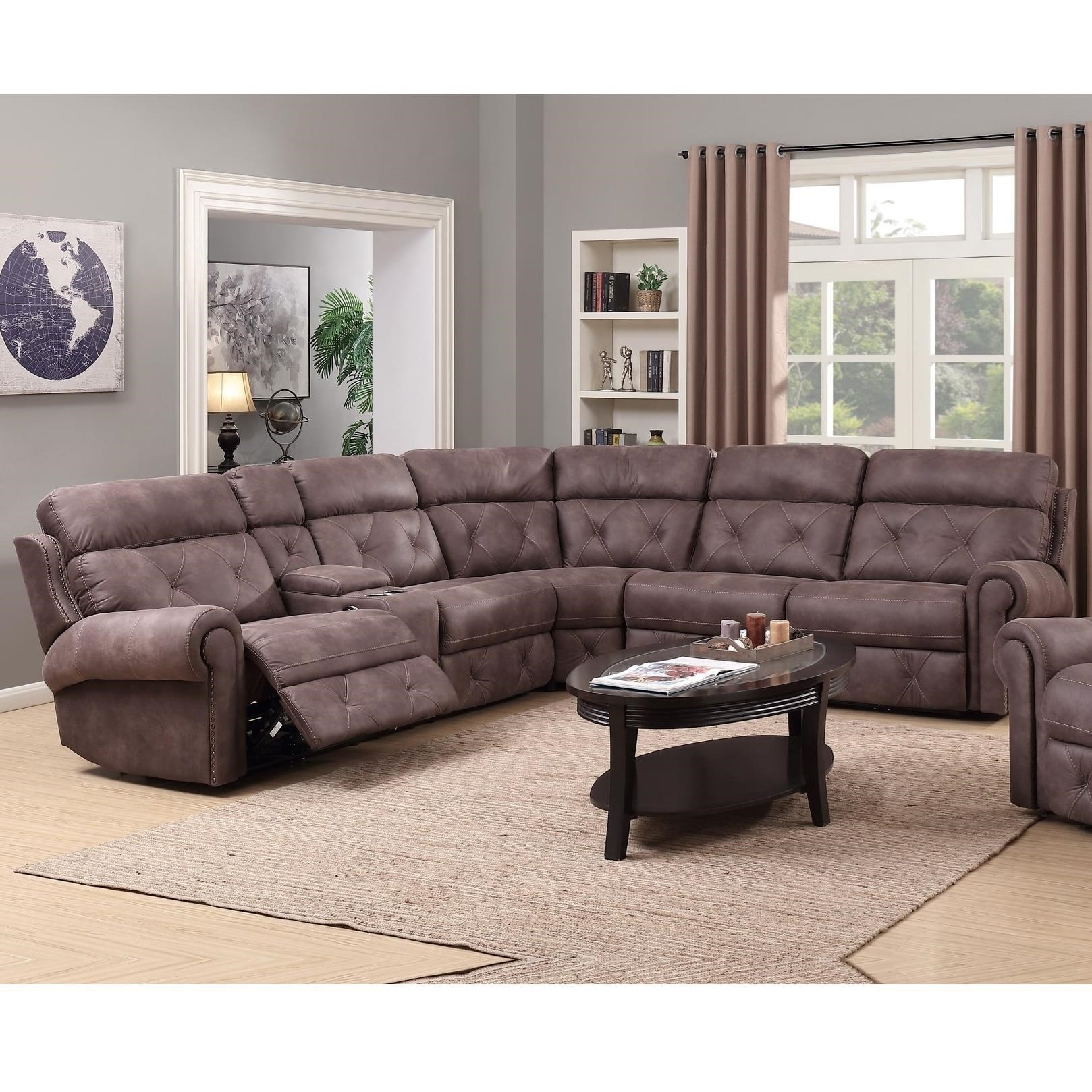 Reclining Sectional Sofa Corner Gray Fabric Recliner Sofa With