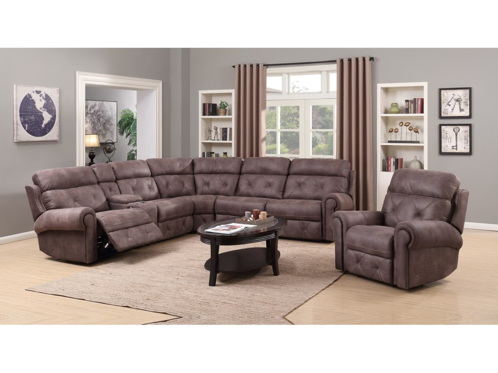 Happy Leather Company 1378Power Reclining Sectional