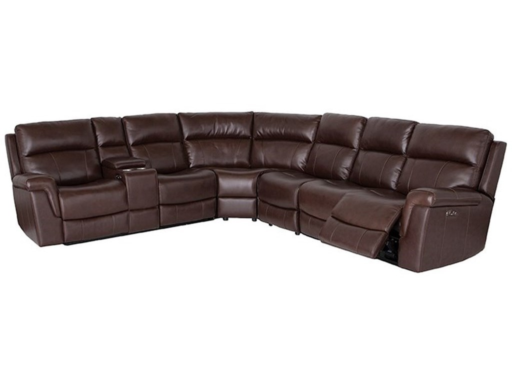 Happy leather company 3 pc power reclining sectional sofa
