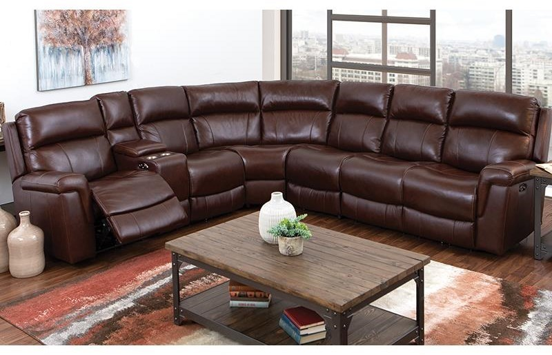 Happy Leather Company 3 Piece Genuine Leather Reclining Sectional W