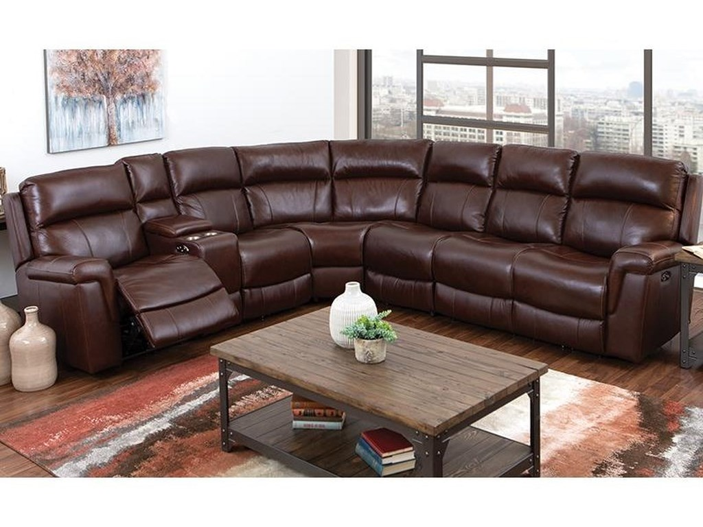 3 Piece Genuine Leather Reclining Sectional w/Cupholder, Storage Console,  USB Port, and Power Headrests by Happy Leather Company at Darvin Furniture