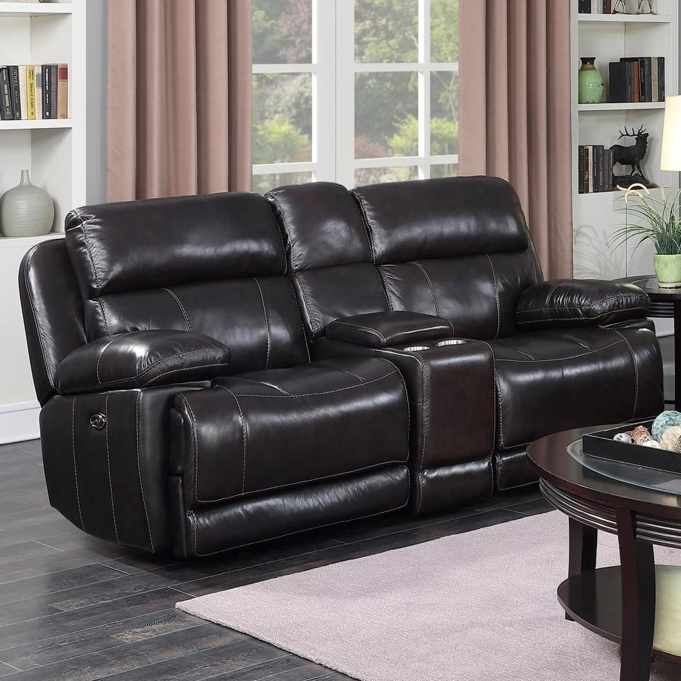 Happy Leather Company 1397 Power Glider Loveseat With Center Console