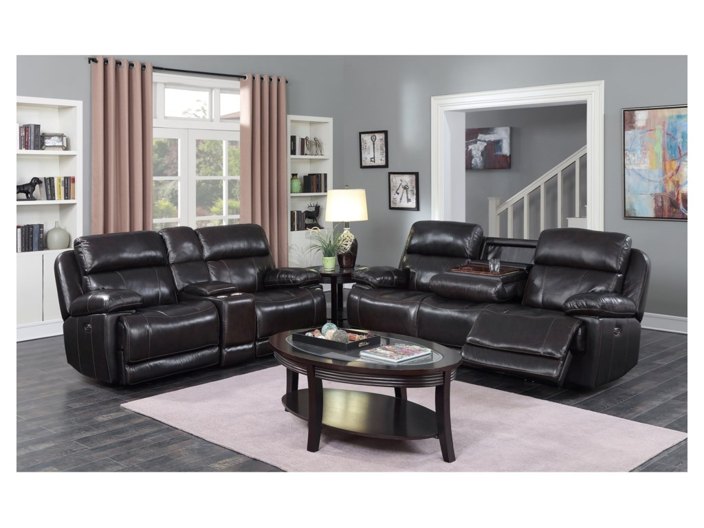 Happy Leather Company 1397Power Loveseat with Console