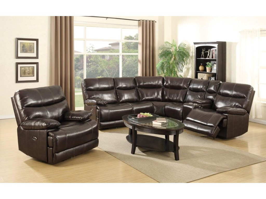 Happy Leather Company 3282BPower Reclining Sectional Sofa and Power Rec