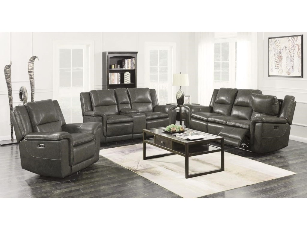 Trojan 2 Piece Set Charcoal Power Reclining Sofa and Console Loveseat by  Happy Leather Company at Sam Levitz Furniture