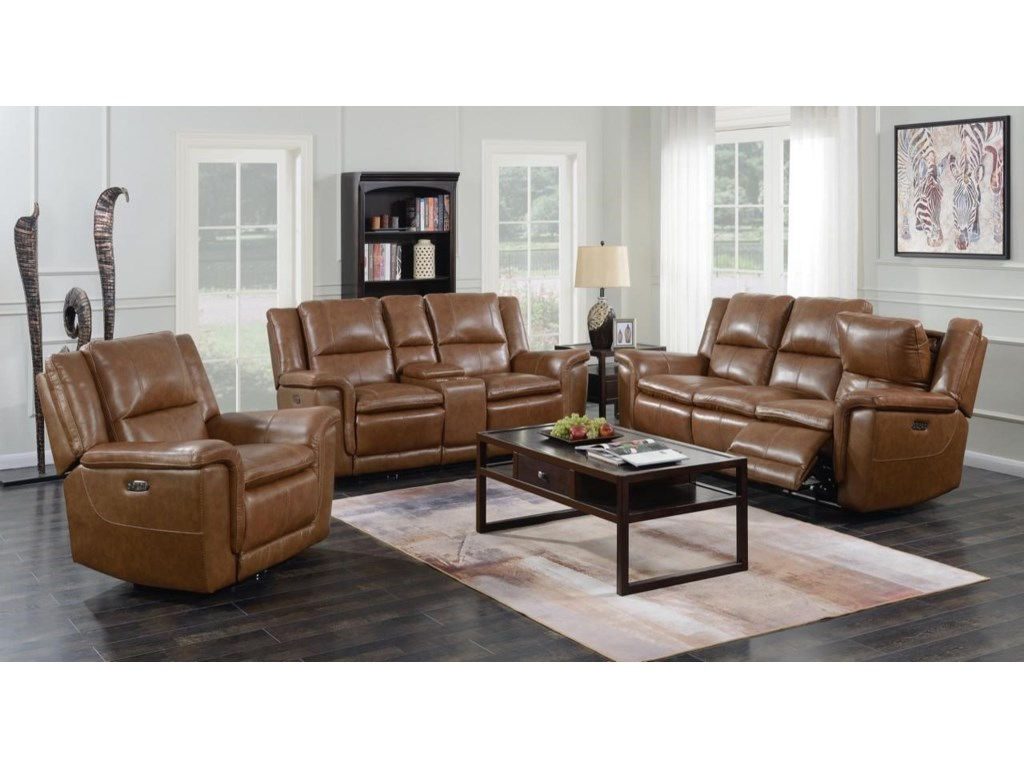 Trojan 3 Piece Set Light Brown Power Reclining Sofa, Loveseat, and Recliner  by Happy Leather Company at Sam Levitz Furniture