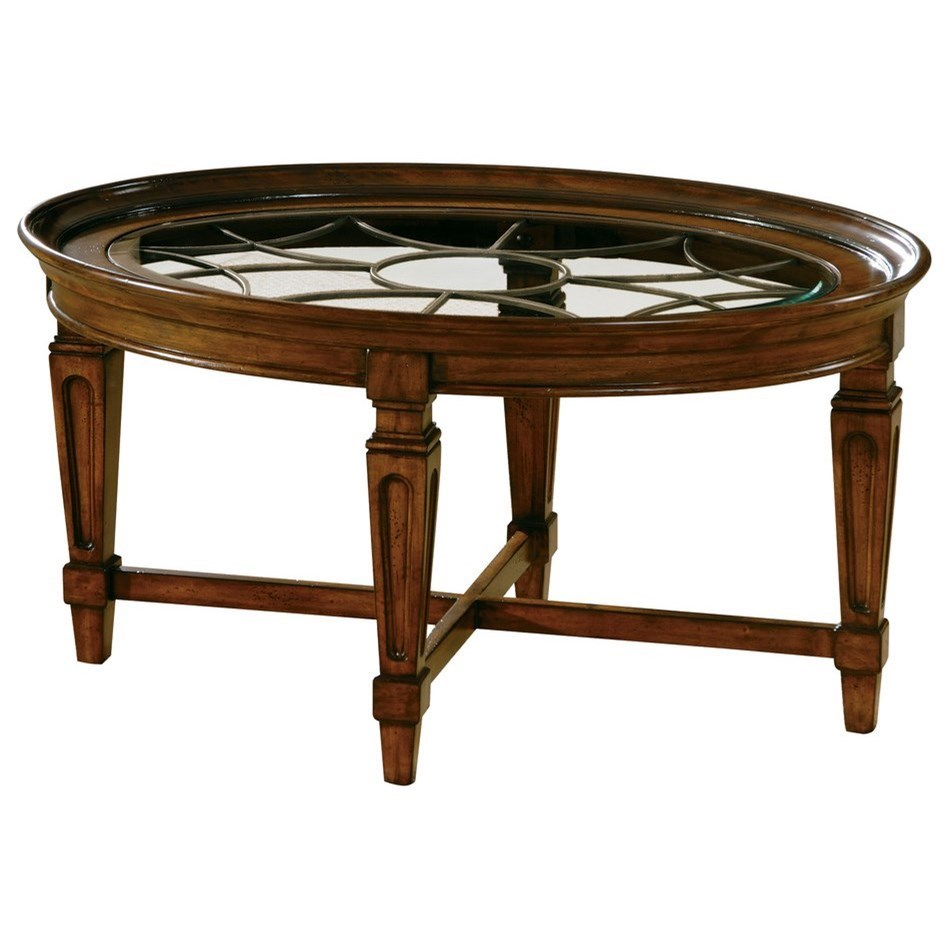 Picture of: Hekman 7282 Traditional Coffee Table With Metal Grille Howell Furniture Cocktail Coffee Tables