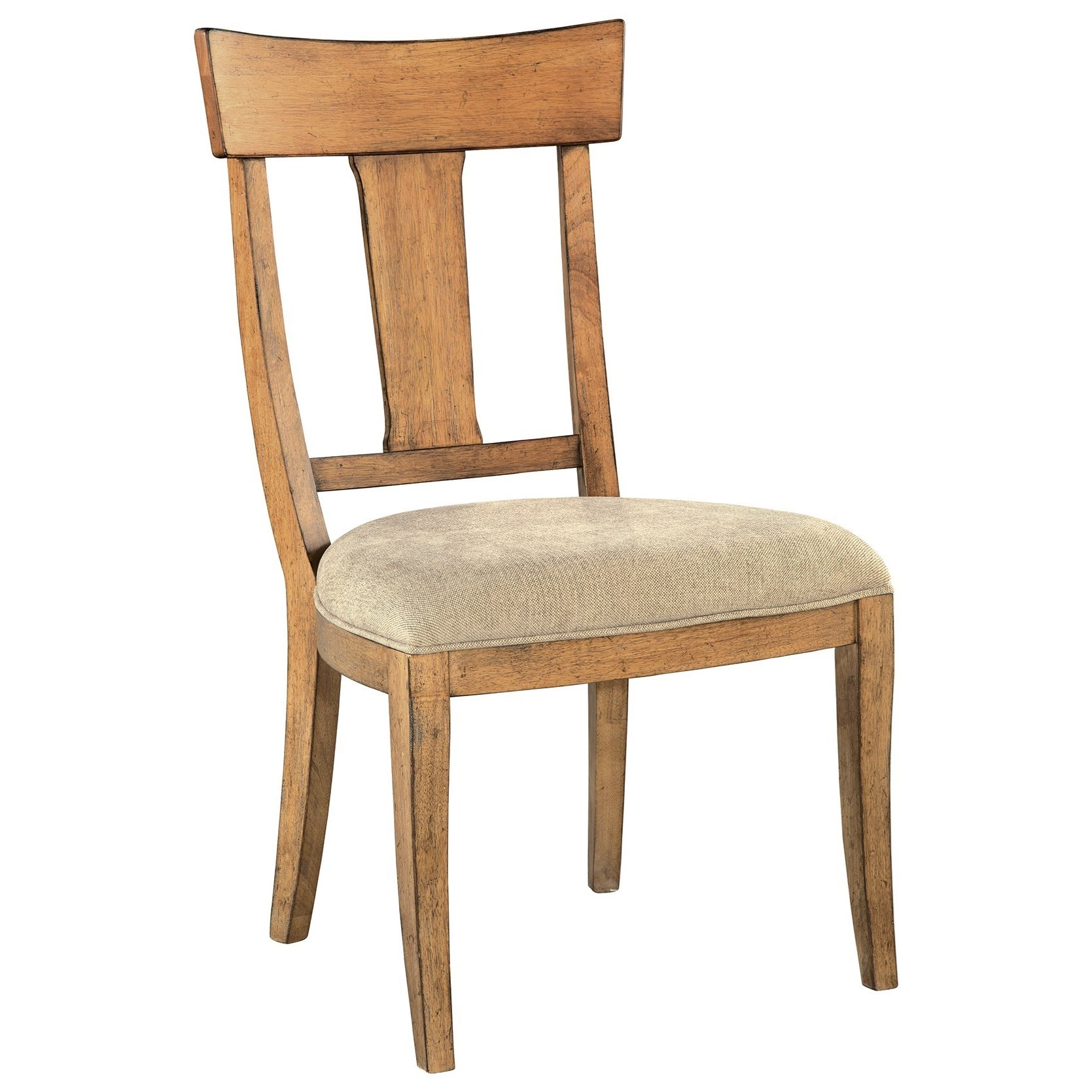 Wood T-Back Side Chair with Upholstered Seat