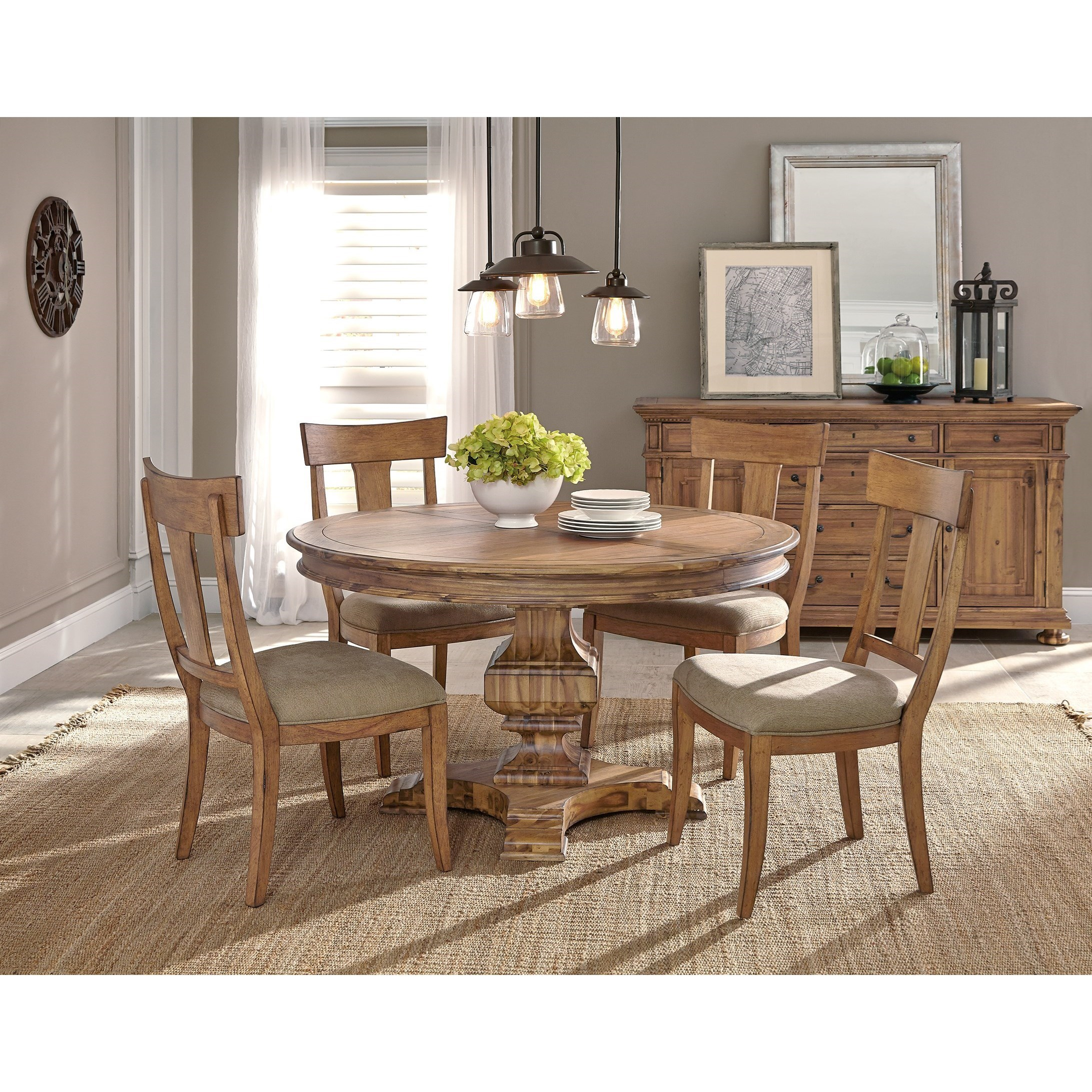 Hekman Wellington Hall Casual Round Dining Room Group   Jacksonville  Furniture Mart   Casual Dining Room Groups
