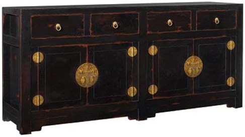 Henredon Acquisitions Antique Black Buffet with Old World Finish Hardware