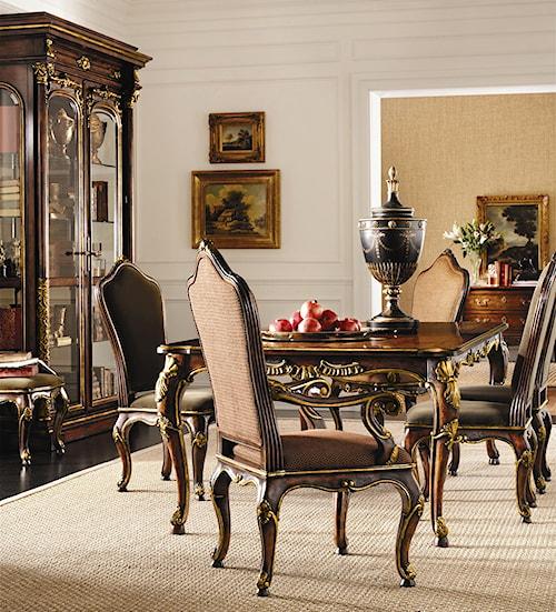 Henredon Arabesque Leg Table Upholstered Back Chairs Set