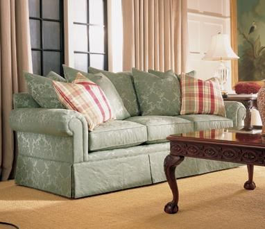 henredon fireside upholstery sofa with lawson arms and multi pillow back