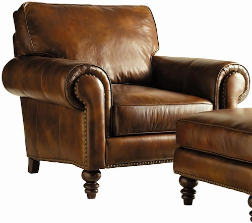 Henredon Leather Select Traditional Upholstered Chair with Bun Feet