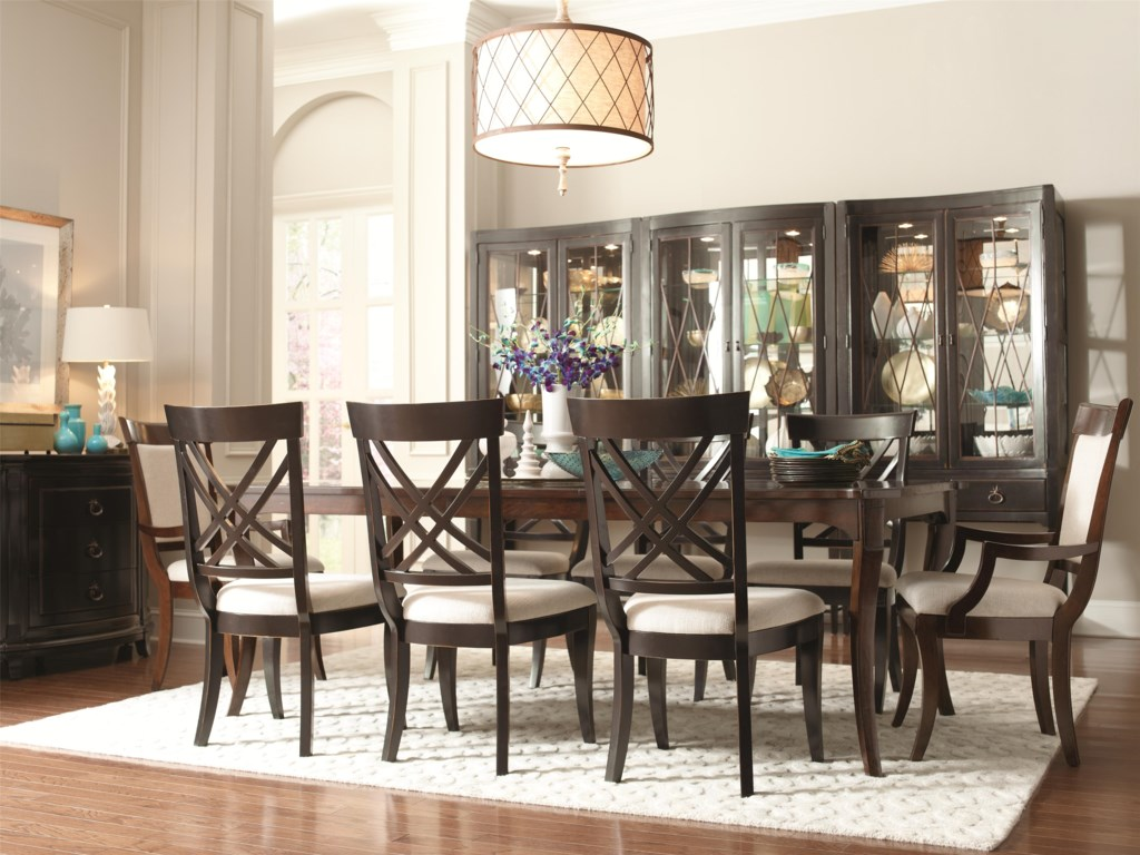 Shown with Coordinating Collection Dining Leg Table, X-Back Side Chairs, Convex and Convert Dining Chests and Demilune