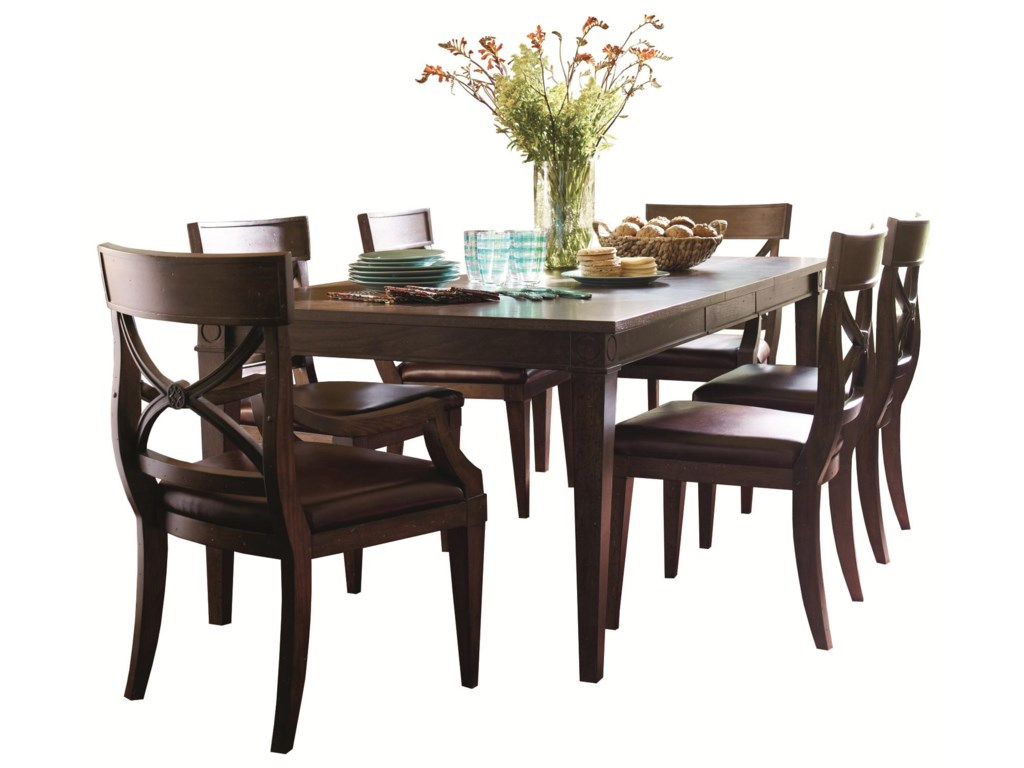 HGTV Home Furniture Collection WoodlandsLeg Dining Table with Arm and Side Chairs