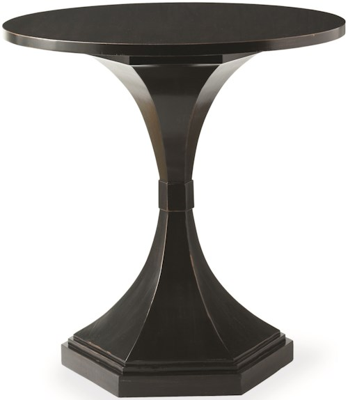 Hickory White Transitions Collection Round Lamp Table with Pedestal Base