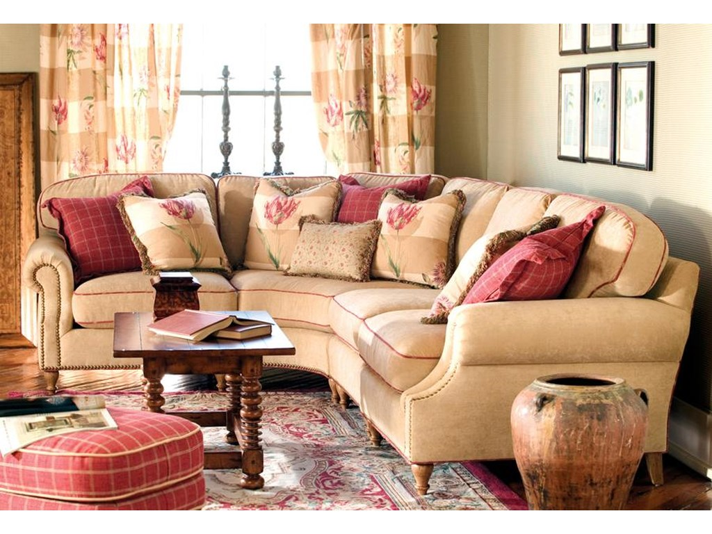 Highland House Sean Transitional Sectional Sofa With Nailhead Trim