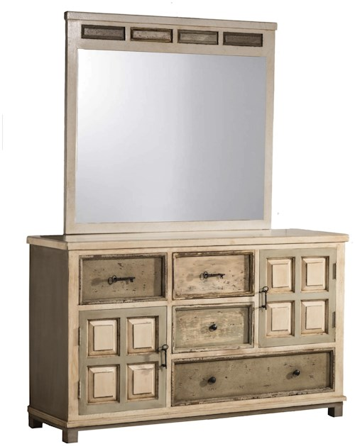 Hillsdale Accents Mirror with Rustic White Gray Finish