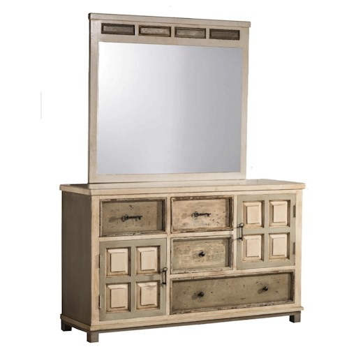 Hillsdale Accents Dresser and Mirror with Rustic White Gray Finish