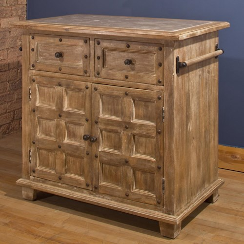 Hillsdale Accents Beige Kitchen Island with Nailhead Trim and Gray Marble Top Finish