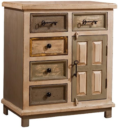 Hillsdale Accents Larose Cabinet with 5 Drawers and 1 Door with Key Handles