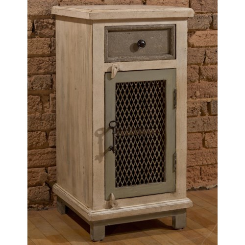 Hillsdale Accents Cabinet with Woven Wire Door and Door