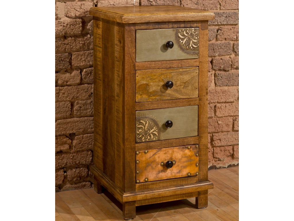 Morris Home AccentsFour Drawer Cabinet with X Design