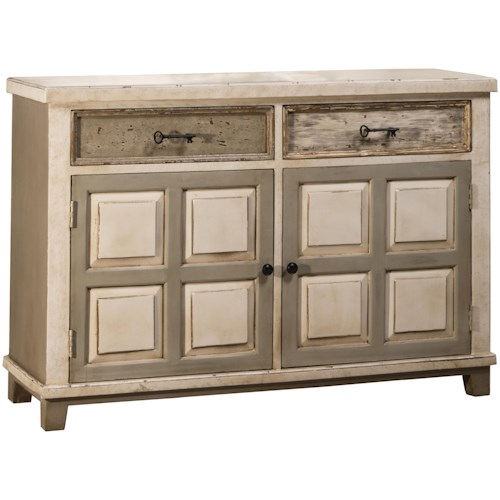 Hillsdale Accents Console Table with Two Door Storage and Light Distressed Finish