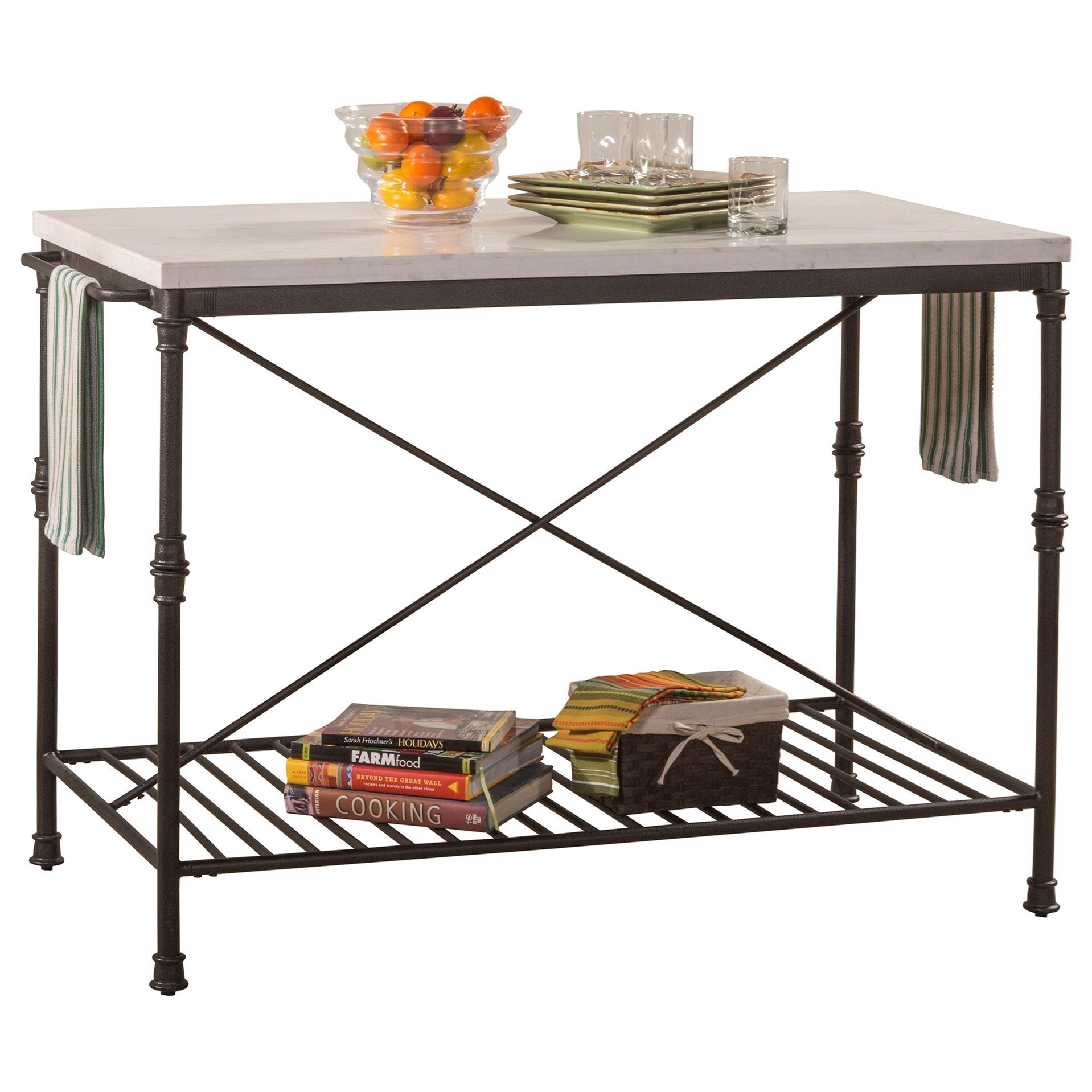Metal Kitchen Island with White Marble Top