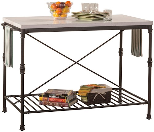 Hillsdale Accents Metal Kitchen Island with White Marble Top
