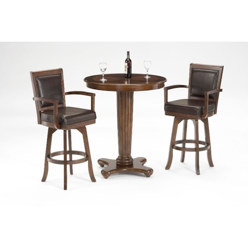 Hillsdale Ambassador 3-Piece Pub Set with Fluted Pedestal