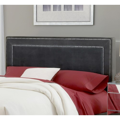 Hillsdale Amber Pewter Upholstered Queen Headboard with Rails
