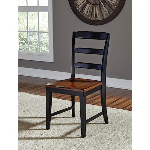 Hillsdale Avalon Black Ladder Back Chair with Dark Cherry Seat