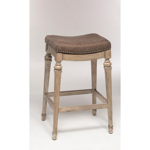 Hillsdale Backless Bar Stools Backless Non-Swivel Bar Stool with Nailhead Trim