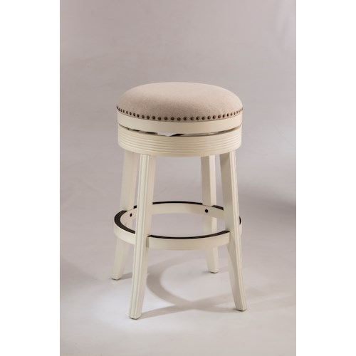 Hillsdale Backless Bar Stools White Backless Swivel Bar Stool with Nailhead Trim