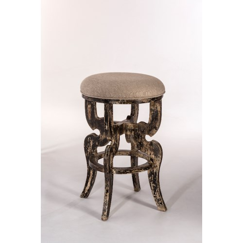 Hillsdale Backless Bar Stools Backless Bar Stool with a Distressed Finish and Upholstered Seat