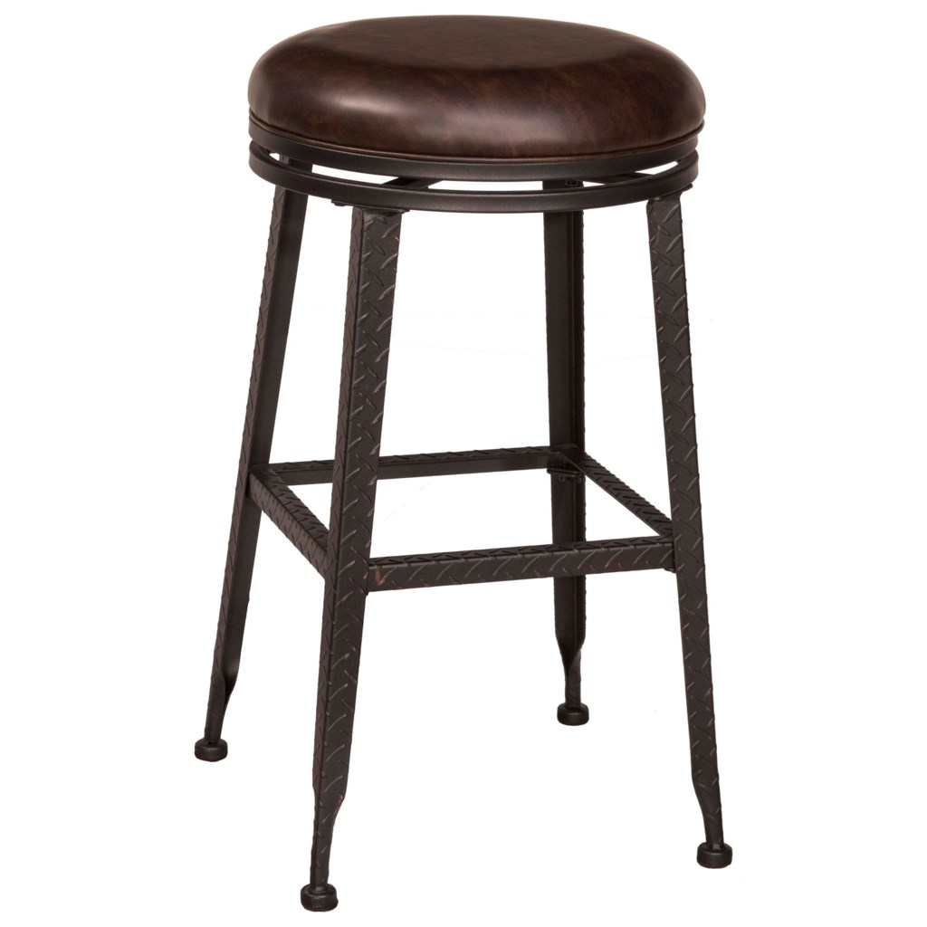 Hillsdale Backless Bar Stools Black Metal With Copper Highlights