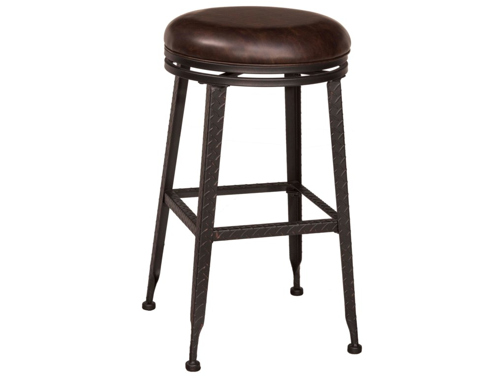 Backless Bar Stools Black Metal With Copper Highlights Backless
