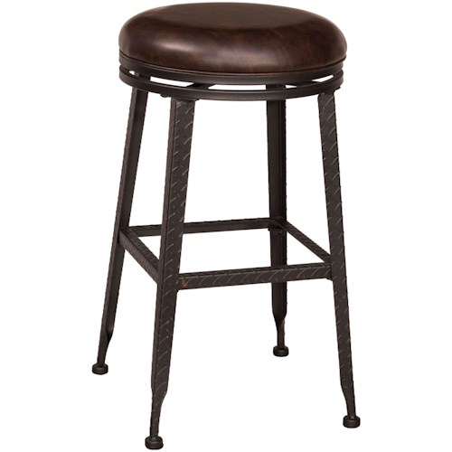 Hillsdale Backless Bar Stools Black Metal With Copper Highlights Backless Swivel Bar Stool