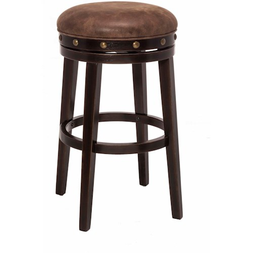 Hillsdale Backless Bar Stools Streamlined Deep Smoke Finish Backless Counter Stool
