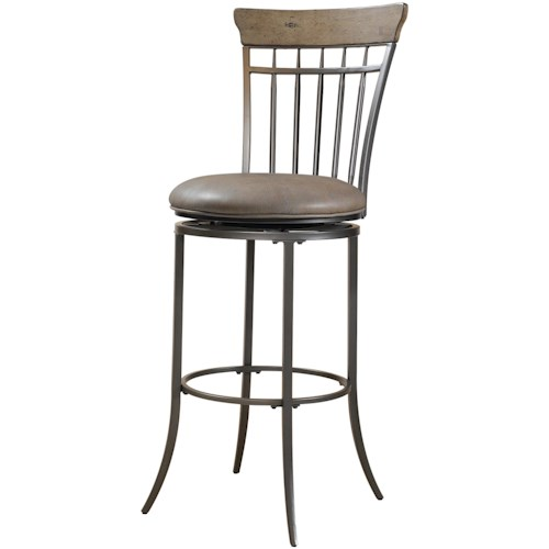 Hillsdale Metal Stools Charleston Swivel Vertical Spindle Back Counter Stool
