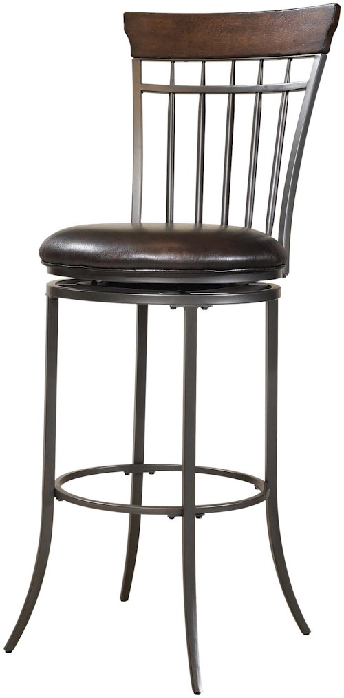 Hillsdale Metal Stools Cameron Swivel Vertical Spindle Back Bar Stool