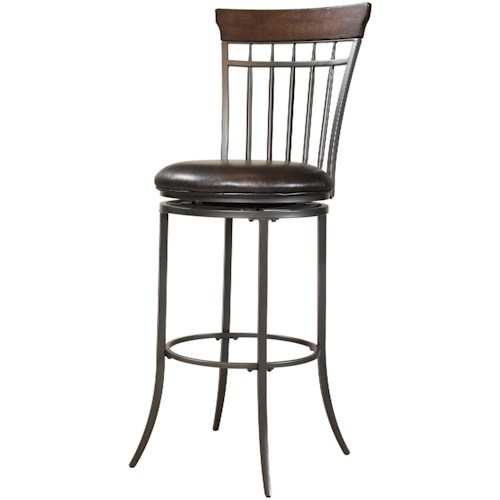 Hillsdale Metal Stools Cameron Swivel Vertical Spindle Back Counter Stool