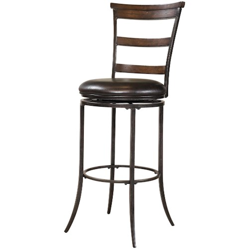 Hillsdale Metal Stools Cameron Swivel Ladder Back Bar Stool